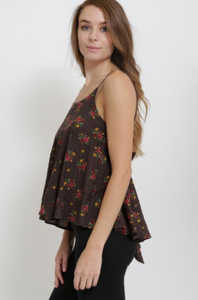 French Kiss Wrap Around Tank Top W/ Tie Back Floral Brown (Available in Sizes S-L)