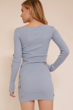 Load image into Gallery viewer, Meek Long Sleeve V-Neck Sweater Dress Sky Blue (Available in Sizes S-L)