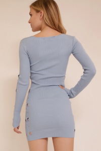Meek Long Sleeve V-Neck Sweater Dress Sky Blue (Available in Sizes S-L)