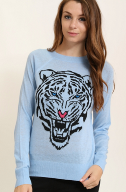 Yuni Apparel Tiger Print Long Sleeve Sweater Sky Blue (Available in Sizes S-L)