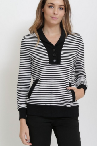 Market Spruce Pullover Cardigan Black Pinstripe (Available in Sizes XS-L)