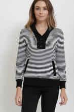 Load image into Gallery viewer, Market Spruce Pullover Cardigan Black Pinstripe (Available in Sizes XS-L)