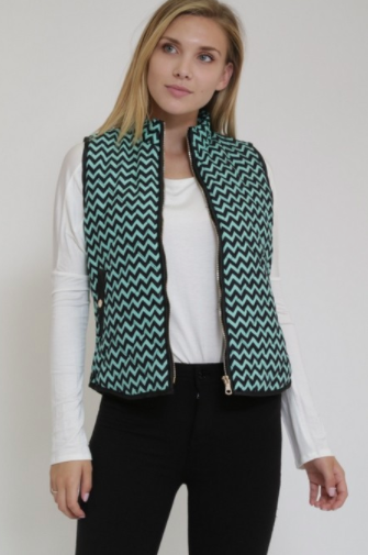 Rosette Padded Vest in Green/Black W/ Gold Buttons (Available in Sizes S-L)