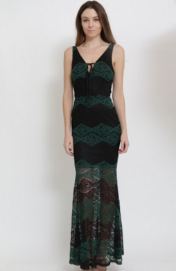 Clara Story Maxi Dress, Black/Burgundy OR Black/Green (Available in Sizes S-L)