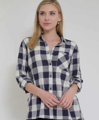 Sneak Peek Plaid Flannel Navy (Available in Sizes Small and Medium)