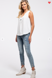 Blu Pepper Sleeveless Woven Tank Off-White (Available in Sizes S-L)