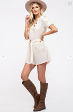 Load image into Gallery viewer, E&M Woven Mini Dress W/ V-Neck and Button Accents & Belt Cream (Available in Sizes S-L)
