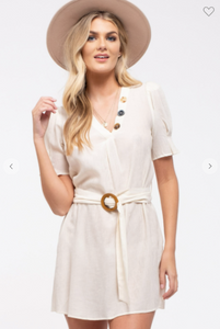 E&M Woven Mini Dress W/ V-Neck and Button Accents & Belt Cream (Available in Sizes S-L)