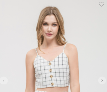 Lydelle Checkered Button Down Cami Crop Top W/ Adjustable Straps White OR Black (Available in Sizes S-L)