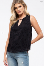 Load image into Gallery viewer, E & M Sleeveless Floral Woven Top W/ Keyhole Cutout & Back Button Loop Black (Available in Sizes S-L)