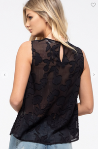E & M Sleeveless Floral Woven Top W/ Keyhole Cutout & Back Button Loop Black (Available in Sizes S-L)