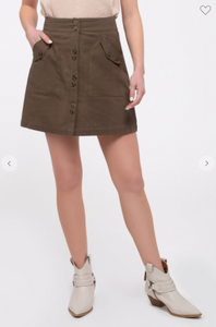 Blu Pepper Skirt W/ Button Front and Patch-Flap Pockets Black OR Olive (Available in Sizes S-L)