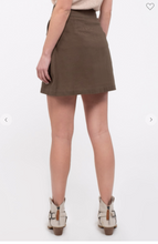 Load image into Gallery viewer, Blu Pepper Skirt W/ Button Front and Patch-Flap Pockets Black OR Olive (Available in Sizes S-L)