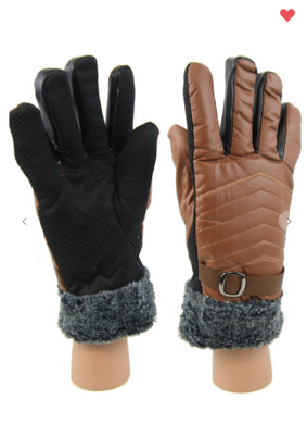 Minky Faux Leather Fur Lined Gloves Black OR Brown (One Size Fits Most)