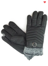 Load image into Gallery viewer, Minky Faux Leather Fur Lined Gloves Black OR Brown (One Size Fits Most)