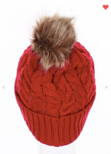 Load image into Gallery viewer, Pompom Crotchet Beanies (Available in 6 Different Colors!)