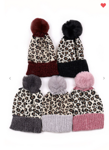 Minky's Leopard Pattern Knit Pompom Beanie (Available in 5 Colors!!)