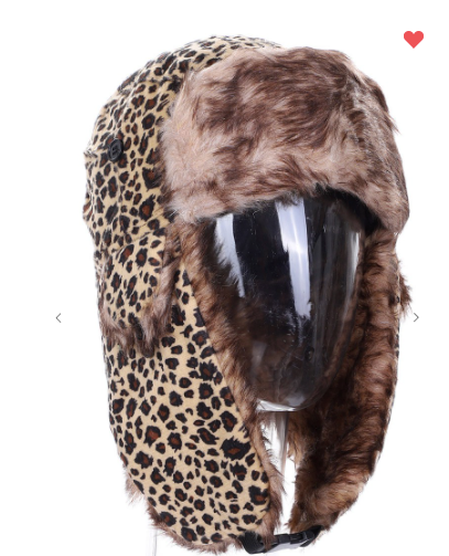 Leopard Trapper Hat W/ Fur Lining (Available in Three Colors!)