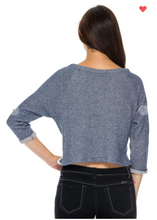 Load image into Gallery viewer, Ambiance Crocheted Terry Sweater Denim OR Black (Available in Sizes S-L)