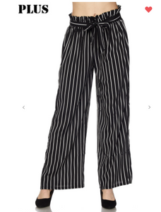 New Mix Vertical Stripe Soft Pants Black/White (Available in Sizes S-L)