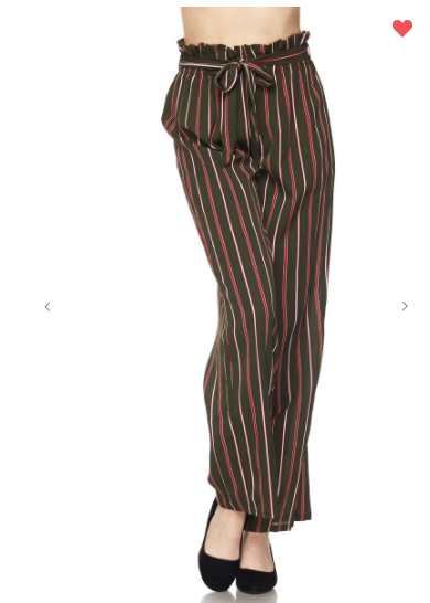 New Mix Vertical Striped Soft Pants Olive/Red (Available in Sizes S-L)