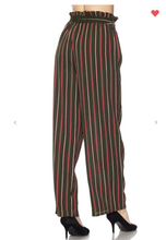 Load image into Gallery viewer, New Mix Vertical Striped Soft Pants Olive/Red (Available in Sizes S-L)