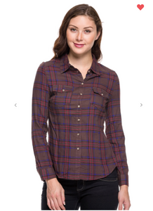 Ambiance Plaid Buttoned Down Collared Top Mocha (Available in Sizes S-L)