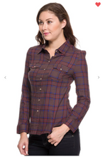 Load image into Gallery viewer, Ambiance Plaid Buttoned Down Collared Top Mocha (Available in Sizes S-L)