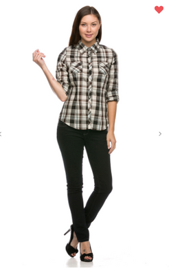 Ambiance Apparel Button Down Plaid Shirt W/ Roll Up Sleeve Grey-Mint (Available in Sizes S-L)