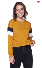 Load image into Gallery viewer, Ambiance Apparel Pullover Sweater Dark Mustard OR Navy (Available in Sizes S-L)
