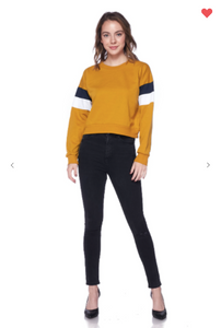 Ambiance Apparel Pullover Sweater Dark Mustard OR Navy (Available in Sizes S-L)