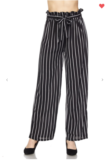 New Mix Vertical Stripe Soft Pants Black/White (Available in Sizes 1XL-3XL)
