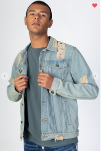 KDNK Distressed Medium Vintage Wash Denim Jacket (Available in Sizes S-XL)