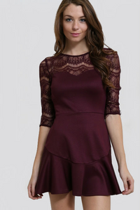 Yuni Apparel Lace Burgundy Dress (Size S-L)