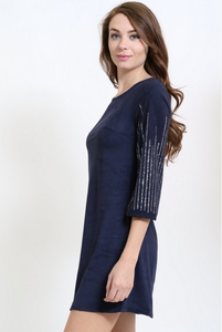 SAGA Embellished Long Sleeve Charcoal Velvet Dress