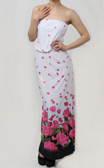 Loila Sleeveless Rose White Maxi Dress