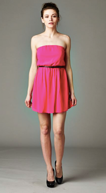 Depri Strapless Fuchsia Dress W/Belt