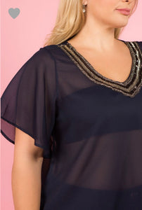 Luz Plus Sheer Top W/Jeweled Neckline Navy