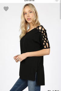 Zenana Plus Woven Shoulder Top (Black or Navy)