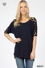 Load image into Gallery viewer, Zenana Plus Woven Shoulder Top (Black or Navy)