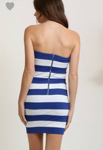Depri Strapless Striped Mini Dress Blue & White