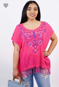 Amerikan Basics Plus Embroidered Fringe Top Pink