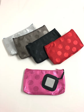Polka Dot Cosmetic Bag W/ Mirror
