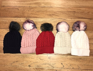 Minky Colored-Fur Beanie W/ Sherpa Lining (Multi Colors)