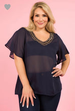 Load image into Gallery viewer, Luz Plus Sheer Top W/Jeweled Neckline Navy