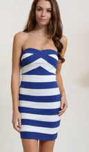 Load image into Gallery viewer, Depri Strapless Striped Mini Dress Blue & White