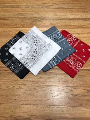 Paisley Bandana (Available in Black, Red, White, & Gray)