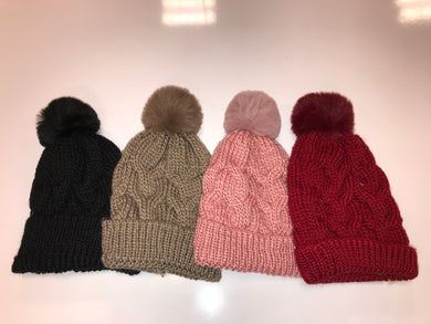 Woven Solid Color Fur Beanie