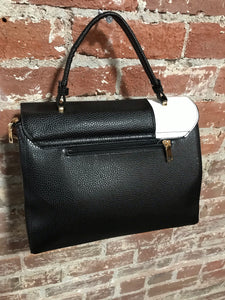 AR New York White & Black Leather Crossbody