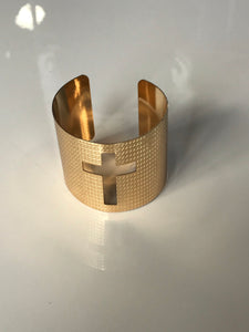 Cross My Heart Gold Cuff